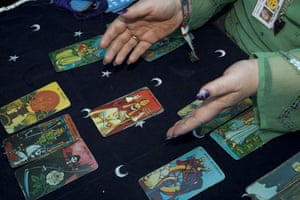 Tanya Gold at Glastonbury: Having her tarot cards read by Polly Raynebird in the cabaret area