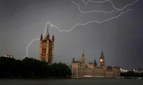 Hot weatherLightning strikes over the Houses of Parliament
