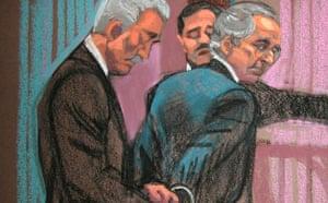 Bernard Madoff: Madoff handcuffed in court