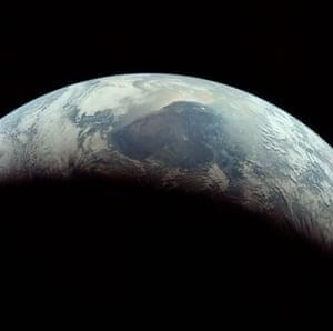 Apollo 11 to Moon: closeup of Earth