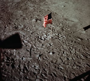 Apollo 11 to Moon: American Flag and Astronauts' Footprints on Moon