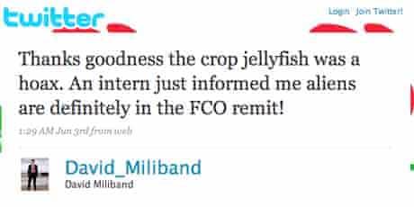Update at fake David Miliband account on Twitter