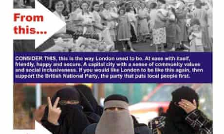 A BNP leaflet on 'the changing face of London'.