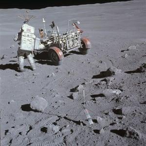 Top Ten Hoax Claims: Apollo 16 landing on moon : Apollo 16 Charlie Duke at Station 4