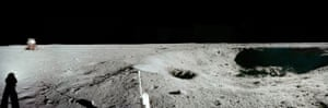 Apollo 11 on moon: East Crater Panorama with lunar module