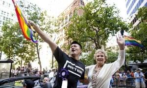Iraq soldier Dan Choi duringthe gay pride parade in San Francisco