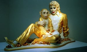 American pop superstar Michael Jackson with his pet monkey Bubbles by Jeff Koons