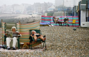 Heatwave: Local residents enjoy the beach in Herne Bay, Kent