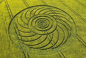 Crop circles: A crop circle in a field of oilseed rape at Roundway, Wiltshire