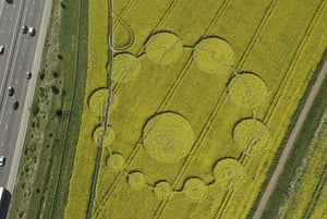 Crop circles: A crop circle in a field of oilseed rape at Peaksdown, Swindon, Wiltshire