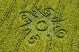 Crop circles: A crop circle in a field of oilseed rape at Roundway Hill, Wiltshire