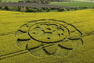 Crop circles: A crop circle in a field of oilseed rape at All Cannings, Wiltshire