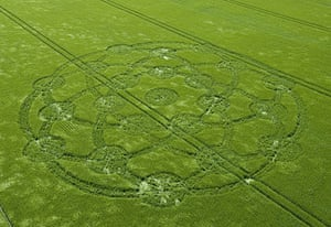 Crop circles: A crop circle in a field of barley at Wroughton, Wiltshire