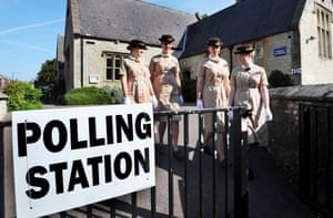 European elections: Norland College students at a polling station in Weston, Bath