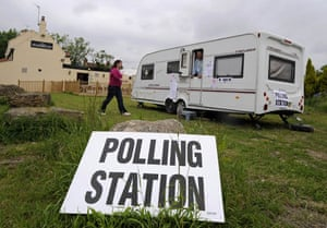 European elections: A woman goes to vote at a polling station in the remote village of Biggin