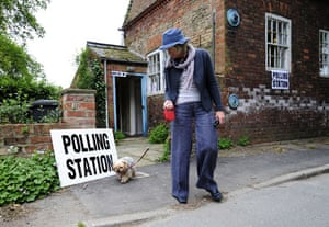 European elections: A woman leaves a polling station in the village of Bolton Percy