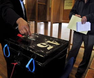 European elections: Voters cast their vote at the Dryburgh Hall in Putney, London