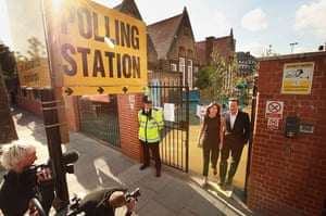 European elections: David Cameron Attends Polling Station
