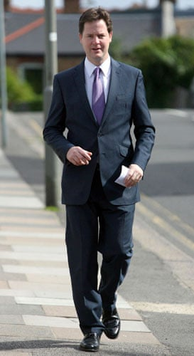 European elections: Nick Clegg arrives to cast his vote at Dryburgh Hall in London