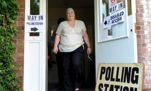 A voter exits a European election polling station in east London