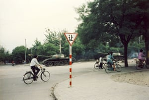 Tiananmen protests 1989: Tanks patrol the streets, Muxudi, Beijing.