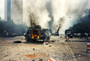 Tiananmen protests 1989: Armoured vehicles set on fire by civilians, West Changan Street, Muxudi