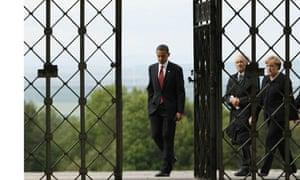 Barack Obama, Elie Wiesel, Angela Merkel, Buchenwald concentration camp