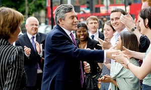 Gordon Brown greets supporters in Stratford, east London