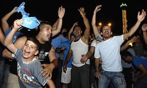Supporters of Saad Hariri on the streets of Beirut