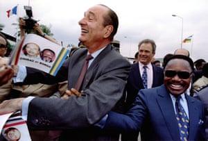 Omar Bongo obituary: President Jacques Chirac and President Omar Bongo 1995