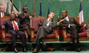 Omar Bongo obituary: President Jacques Chirac and President Omar Bongo 2005