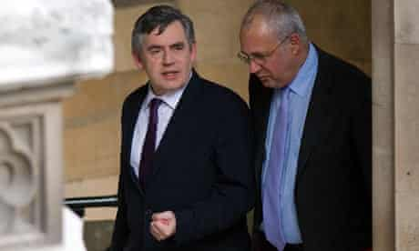 Gordon Brown leaves a meeting of the parliamentary Labour party.