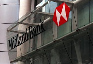 Banks: Midland Bank branch facade in the City of London in 1998
