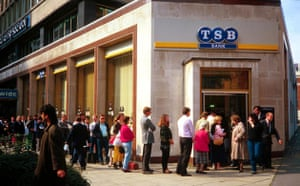 Banks: People queue outside a TSB Bank branch in London in 1986