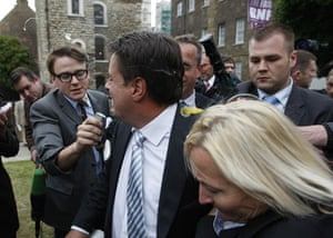 Griffin pelted with eggs: Nick Griffin in anti-BNP demonstration