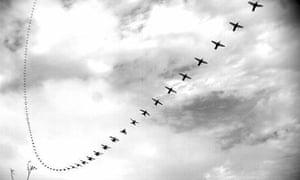 Composite photo of a hummingbird dive