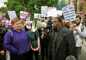 Nick Griffin: Demonstrators opposed to the BNP