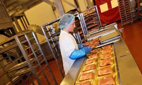 Agency worker in a meat packing plant