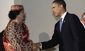 Libyan leader Muammar Gaddafi meets US president Barack Obama at the G8 summit