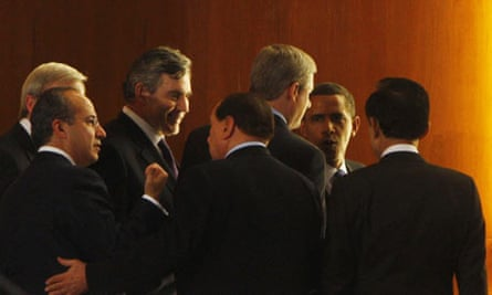 Gordon Brown and other world leaders at the G8 in L'Aquila