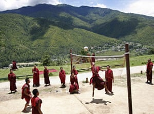 24hours in pictures: Monks play volleyball at Dechen Phodrang monastery in Thimphu