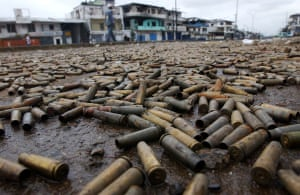 Charles Taylor: 2003: A vast number of spent bullet casings, cartridges in Monrovia