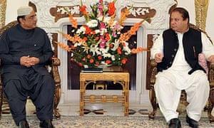 The Pakistan president, Asif Ali Zardari, with the former prime minister Nawaz Sharif in Lahore