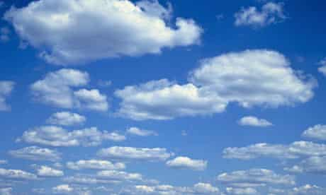Cumulus clouds in a blue sky