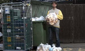 Eco-activist Tristram Stuart demonstrates how much food waste is created by supermarkets like Tesco