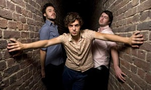 Friendly Fires lead singer Ed Macfarlane (centre) with fellow band members Jack Savidge, Edd Gibson