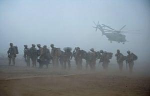 Operation Khanjar: US Marines wait for helicopter transport