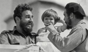 Fidel Castro with Che Guevara and his daughter Aleida