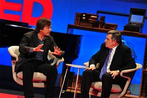 TED organiser Chris Anderson and British Prime Minister Gordon Brown