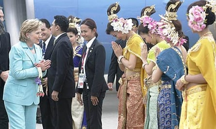 Hillary Clinton arrives for the Association of Southeast Asian Nations (ASEAN) summit in Thailand